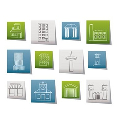 Different kind of building and city icons vector