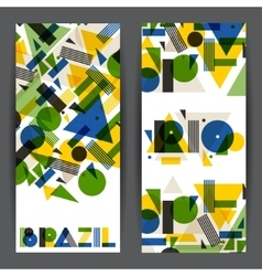 Brazil and rio banners in abstract geometric style vector