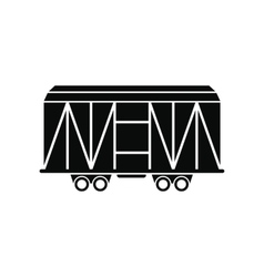 Train cargo wagon black simple icon vector