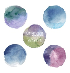 Watercolor circles in cold colors vector image