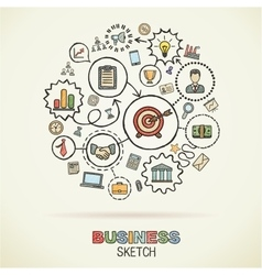 Business hand drawing integrated sketch icons vector image