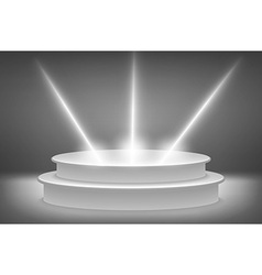 Round podium illuminated by spotlights image vector