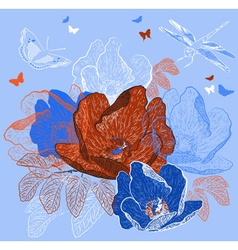 Seamless Blue Floral Background with Butterflies vector image