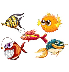 A group of sea creatures vector image vector image