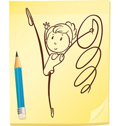 A simple drawing of a gymnast vector image