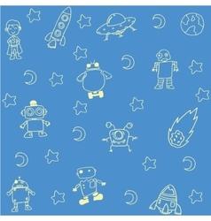 Alien doodle set vector