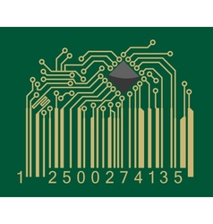Bar code with computer motherboard elements vector image vector image