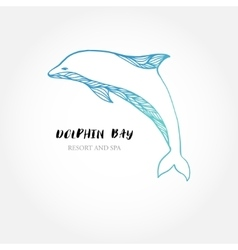 Blue dolphin logo sign logotype design vector image vector image