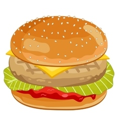 Chicken burger on white background vector