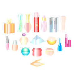 Cosmetics make-up beauty accessories vector