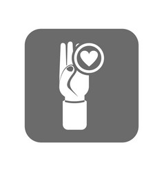 customer service icon with hand up sign vector image vector image