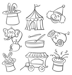 Doodle of hand draw element circus vector