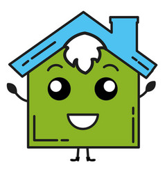 Exterior house kawaii character vector