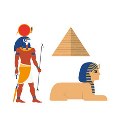 Flat egypt mythical symbols set vector