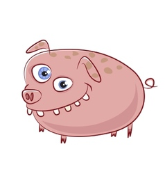Funny and crazy caricature pig character vector