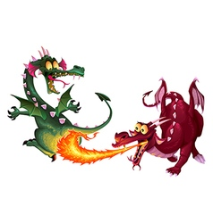 Funny dragons are playing with fire vector image vector image