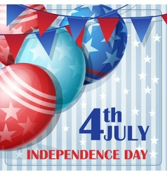 Independence day on july 4 with flags and balloons vector