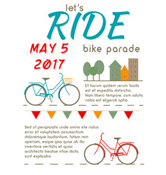 lets ride - bike parade poster vector image