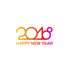 new 2018 year greeting card made in line colorful vector image