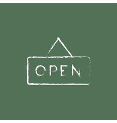 Open sign icon drawn in chalk vector