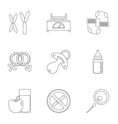 Parturition icons set outline style vector