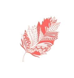 Pink feather with doodle style ornament vector