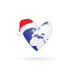 planet earth in heart with christmas hat vector image vector image