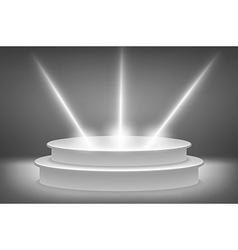 Round podium illuminated by spotlights Image vector image