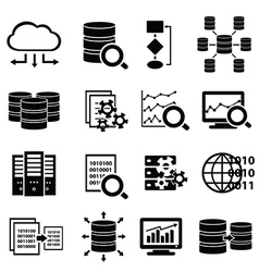 Set of big data and cloud computing icons vector