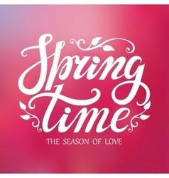 Spring time letteringpink blurred background vector