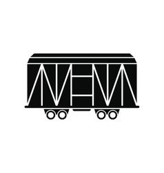 Train cargo wagon black simple icon vector