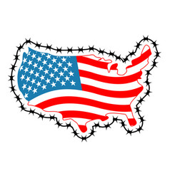 us map with barbed wire america closes border in vector image vector image