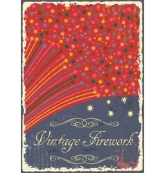 Vintage fireworks poster design retro flyer vector