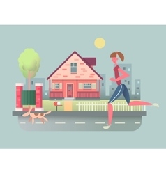 Woman run with dog on street vector image