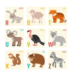 Cute zoo alphabet with animals in cartoon style vector