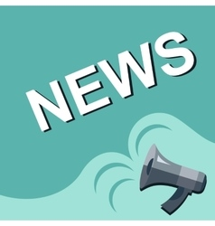 Megaphone with news announcement flat style vector