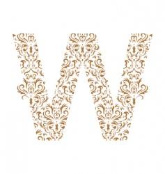 floral letter w ornament font vector image