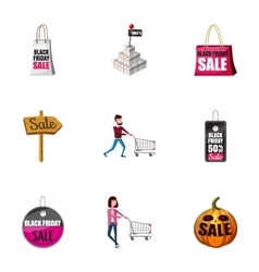 Large discounts icons set cartoon style vector