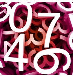 Set of digital numbers red background vector image