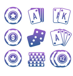 Modern set of colorful gambling and casino icons vector
