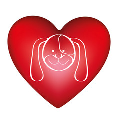 Red heart shape with picture face cute dog animal vector