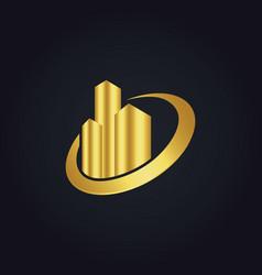 Gold building cityscape construction logo vector