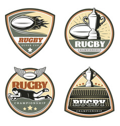 Vintage colored rugby emblems set vector