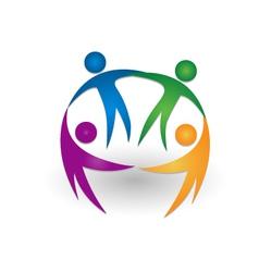 People together teamwork logo vector image