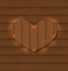 Heart for Valentine Day on wooden texture vector image