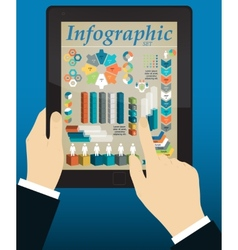 Graphs and charts being demonstrated on the screen vector image