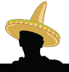 Mexican man silhouette with sombrero vector