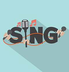 Sing typography with microphones design vector