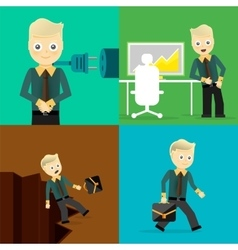 Set of businessman pose character concepts vector