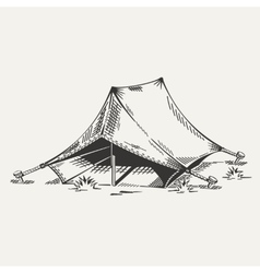 painted tent in black and white vector image